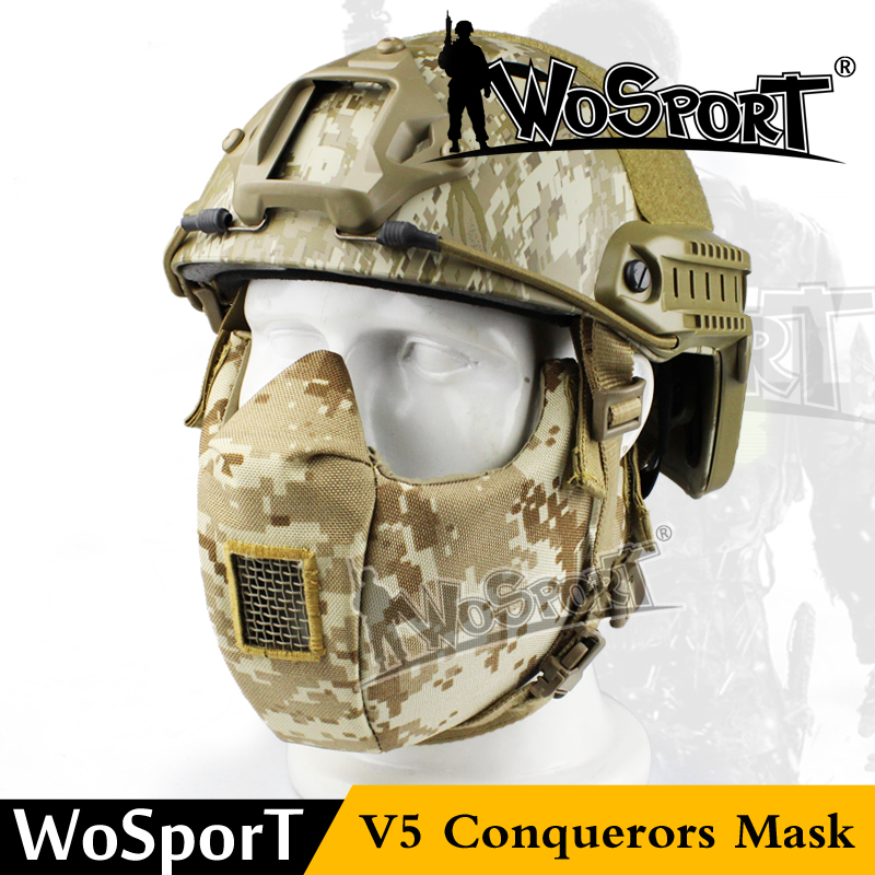 WoSporT Sinairsoft Military Tactical V5 Modular 1000D Cordura Protect Mouth Half Face Mask For WarGame Hunting Airsoft Paintball