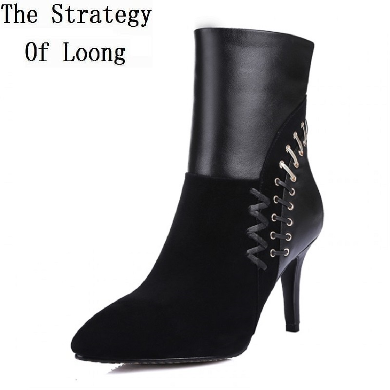 Women Autumn Winter Thin High Heel Sheepskin Pointed Toe Side Zipper Fashion Ankle Martin Boots Size 34-39 SXQ0909 women spring autumn thick high heel genuine leather pointed toe side zipper buckle fashion ankle martin boots sxq0806