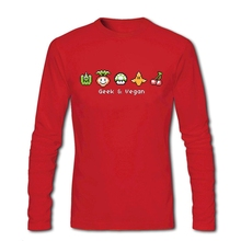 Long sleeved Loose casual T Shirts Zone Adult Man Pixel vegetable Shirts Geek and Vegan Create your own Men Shirts For Sale