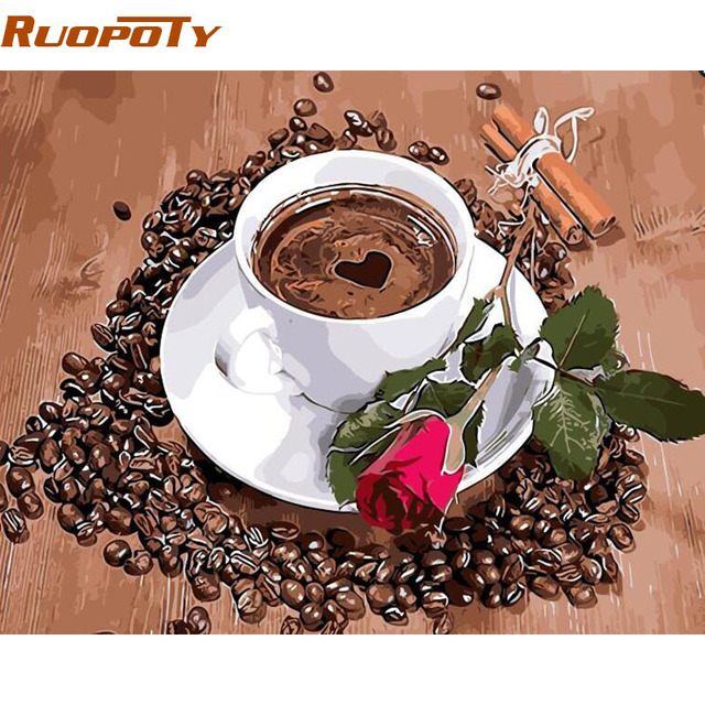 RUOPOTY Frame Coffee Rose DIY Painting By Numbers Kits Acrylic Paint On Canvas Unique Gift For Home Decor 40x50cm Wall Artwork