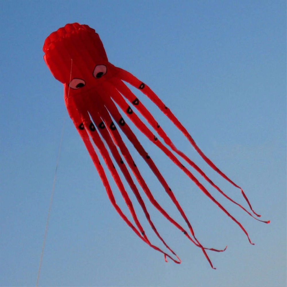 1pc 3D 8m Red Octopus Kite Fabric Flying Long Tail Kites for Kids Inflatable Easy Fly Kites