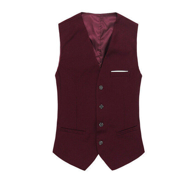 The New Man's Blazer Vests Red Solid Autumn Suits Cotton Business Fashion Male Vest Single Breasted Fit