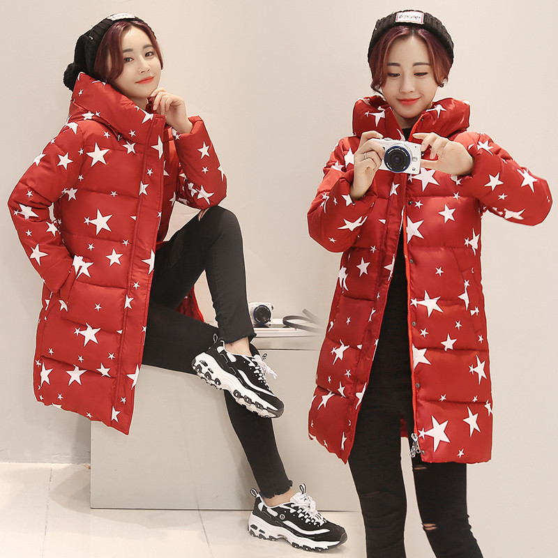 Winter Jacket Women Star Print Thicken 2019 Cotton Coat Hooded Warm Parka Big Size Wadded Padded