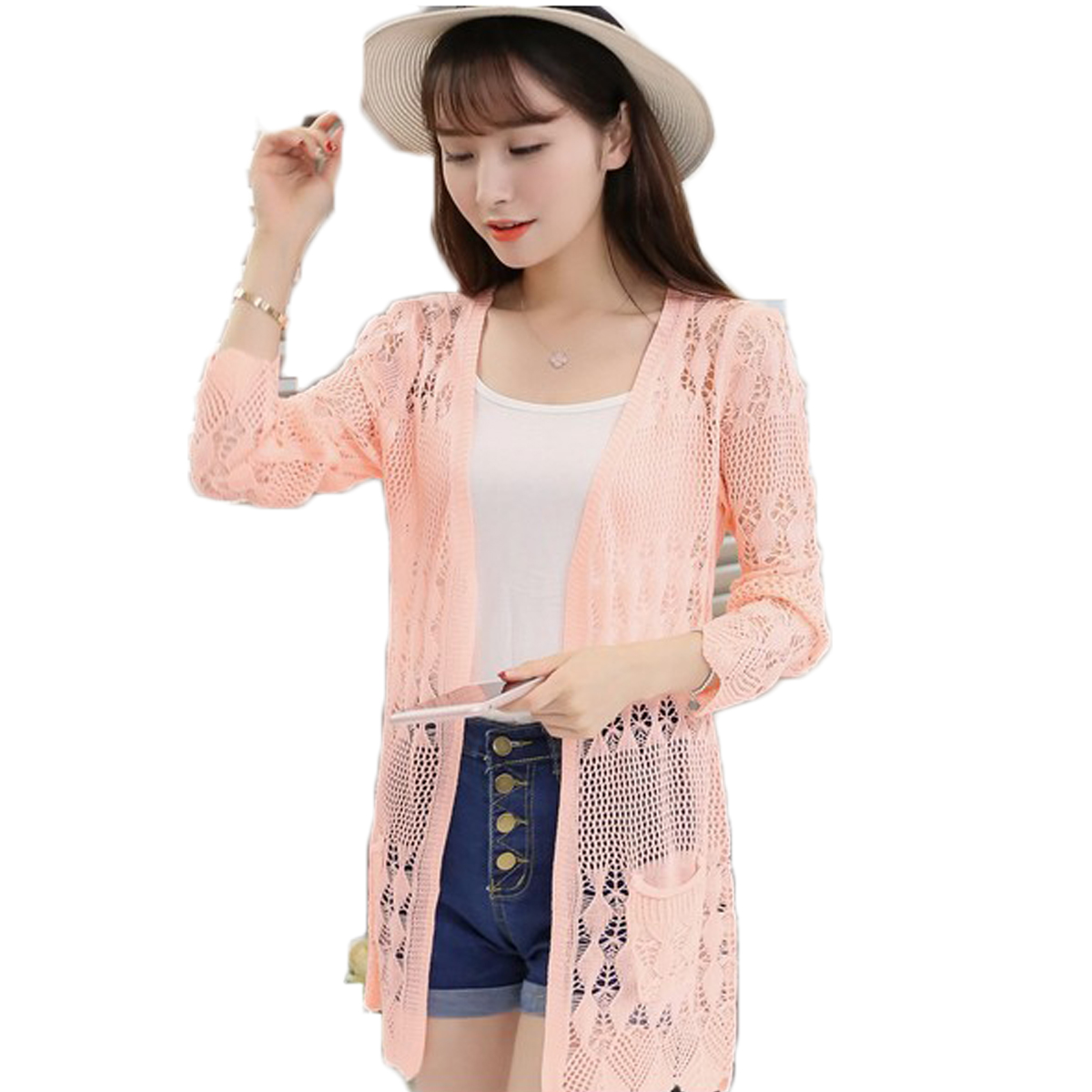 nuevo estilo dbede 77af8 US $7.28 48% OFF|2017 Ladies Crochet Tops Summer Hollow Out Knitted  Sweaters Cardigan Rebecas Mujer Fashion Women Beach Cardigan Spring  Autumn-in ...