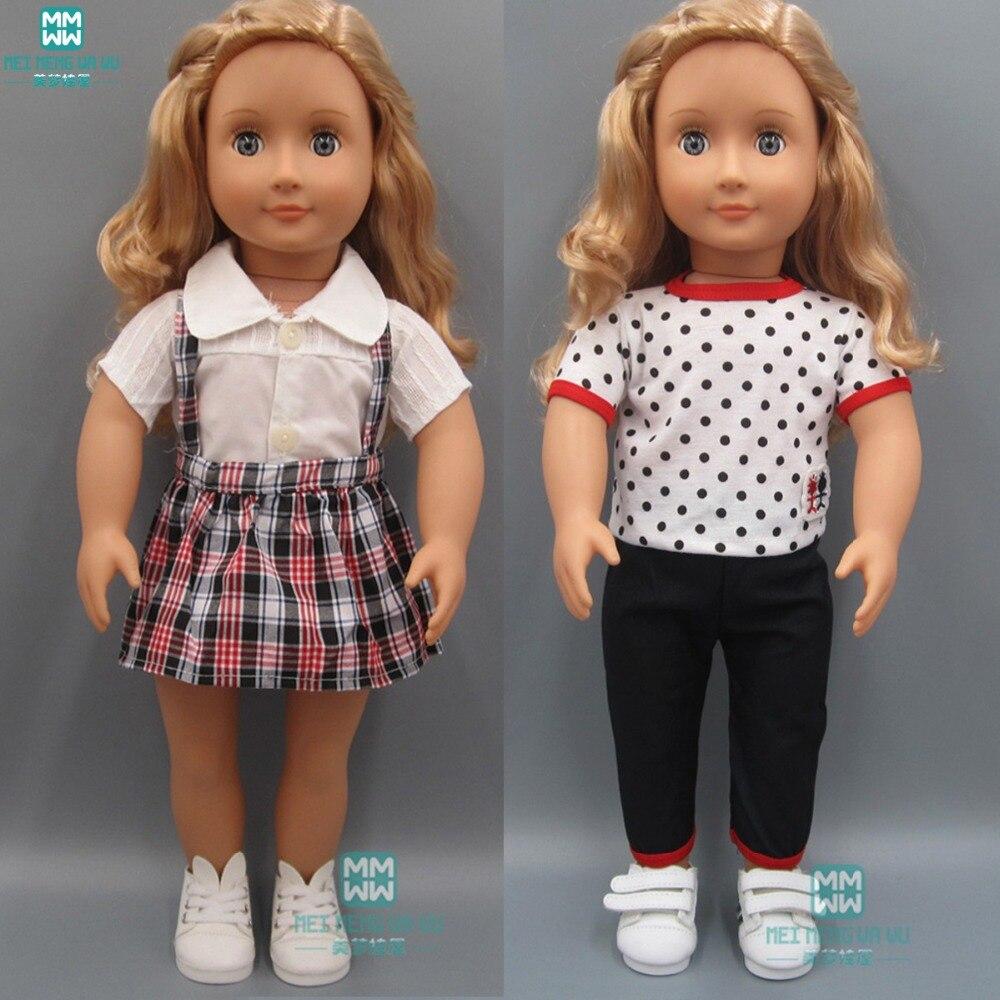 fashion T-shirt, jins pakaian untuk boneka cocok 18 Inch 45cm American 'boneka dan pakaian boneka bayi aksesoris