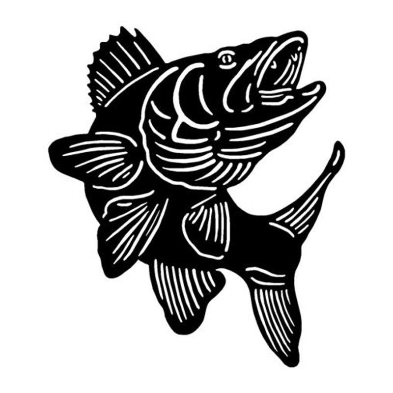 15.5*17.8 CM Walleye Pesca Divertido Etiquetas Engomadas Del Coche Reflexivo Cal