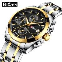 BIDEN Multifunction Man Watches Brand Men Business Wristwatches Quartz Stainless Steel Waterproof Calendar Citizen Movement
