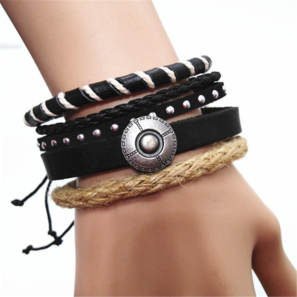 Handmade Woven Men Leather Bracelets