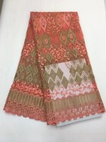High Quality African Lace Fabric For Wedding 2017 Mesh Lace Fabrics Lemon pink Color Guipure Cord Lace MJKY2843b