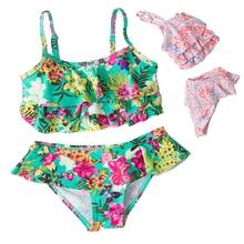 Girls Bikini 2018 New Summer Swimsuit Lovely Kids Two Pieces Swimwear Children Tankini Beachwear Bathing Suit Girls Split Bikini