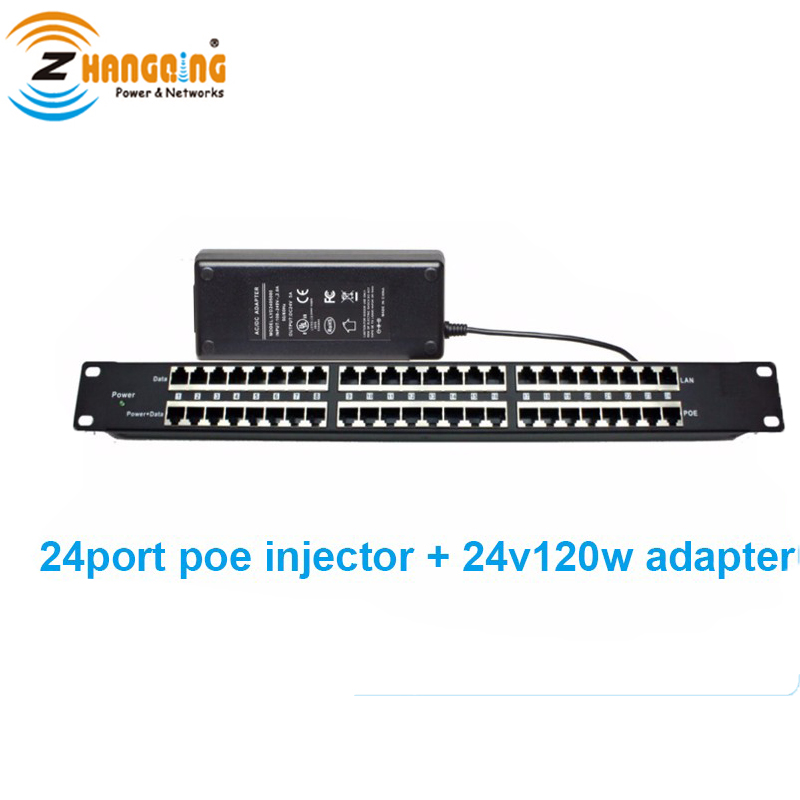 Security Passive PoE Injector Mid-span For IP Camera 802.3af/at PoE Panel 24 Port With 24V 120W Power SupplySecurity Passive PoE Injector Mid-span For IP Camera 802.3af/at PoE Panel 24 Port With 24V 120W Power Supply