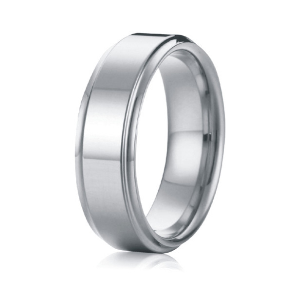 classic 8mm silver white gold color custom pure titanium steel men rings wedding band anel masculino