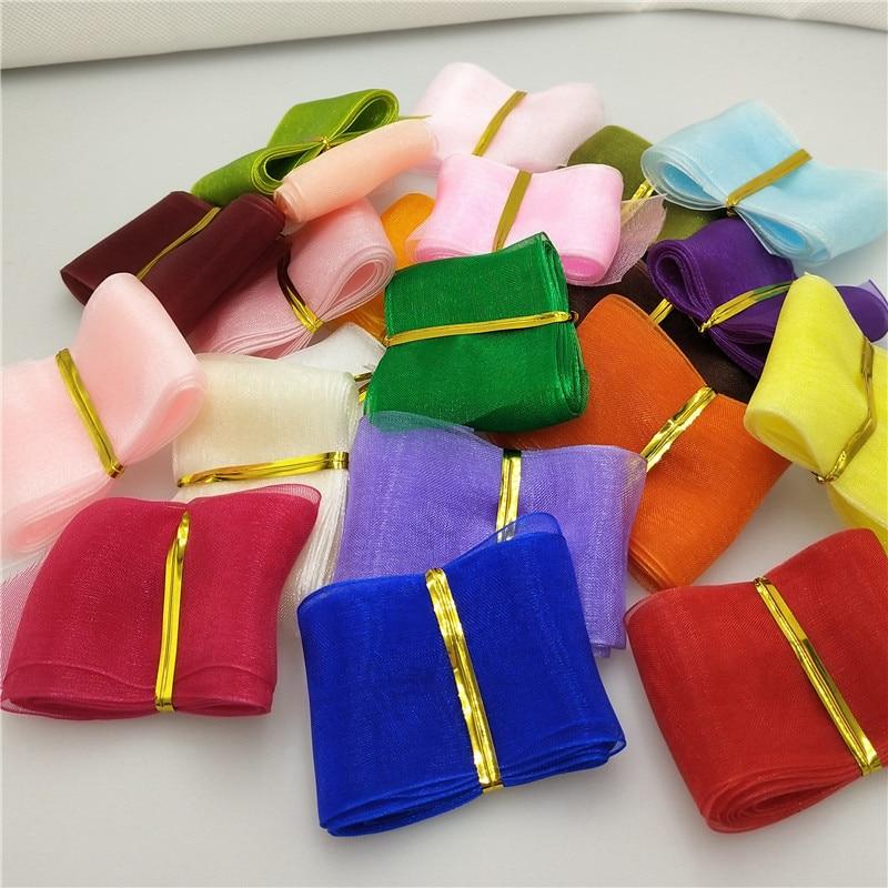 (5 yards/lot)  40mm 50mm Ribbon Wedding Party Decoration Organza Ribbon Gift Wrapping Hair Bows DIY Christmas Ribbon