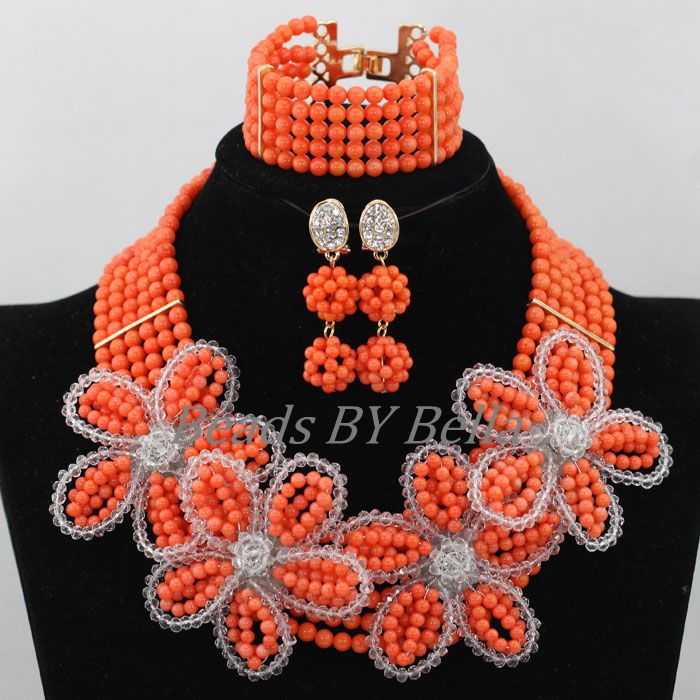 2017 NEW Nigerian Wedding Beads Necklace Indian Bridal Jewelry Sets Flower African Coral Beads Jewelry Set Free Shipping ABK0062017 NEW Nigerian Wedding Beads Necklace Indian Bridal Jewelry Sets Flower African Coral Beads Jewelry Set Free Shipping ABK006