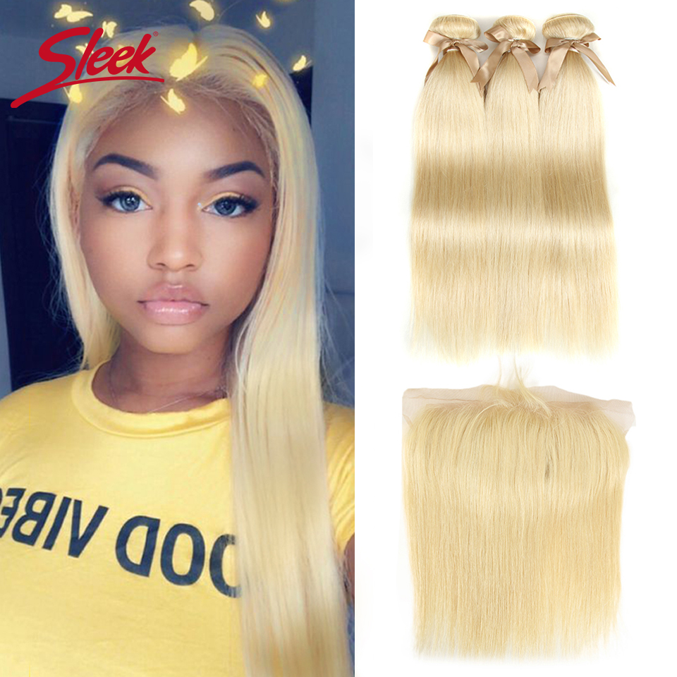 Sleek 613 Honey Blonde Bundles With Frontal Human Hair Bundles Blonde Peruvian Straight Hair 3 Bundles With Frontal Closure image