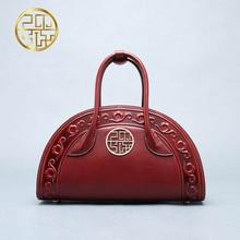Genuine Leath women bag Pmsix New China wind embossed leather font b handbag b font Fashion