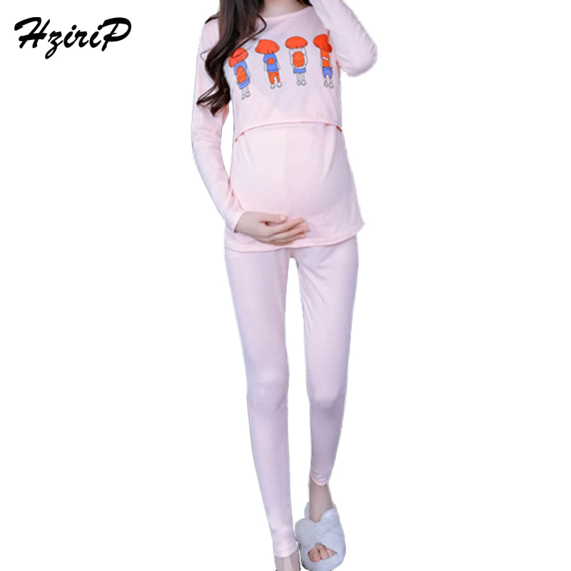 HziriP 2pcs/lot 2018 New Spring Maternity Breastfeeding Nursing Nightgowns Sets Cotton Pregnant Women Cute Pajamas Clothing