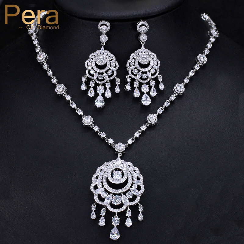 Pera Luxurious Nobel Design Big Dangle Tessal Drop Pendant Necklace And Earring Sets For Bridal Wedding