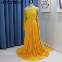 Yellow Gold Chiffon One Shoulder Evening Dress with Cape Lace Beaded Saudi Arabic Formal Prom Dresses 2019 Elegant Long Gowns