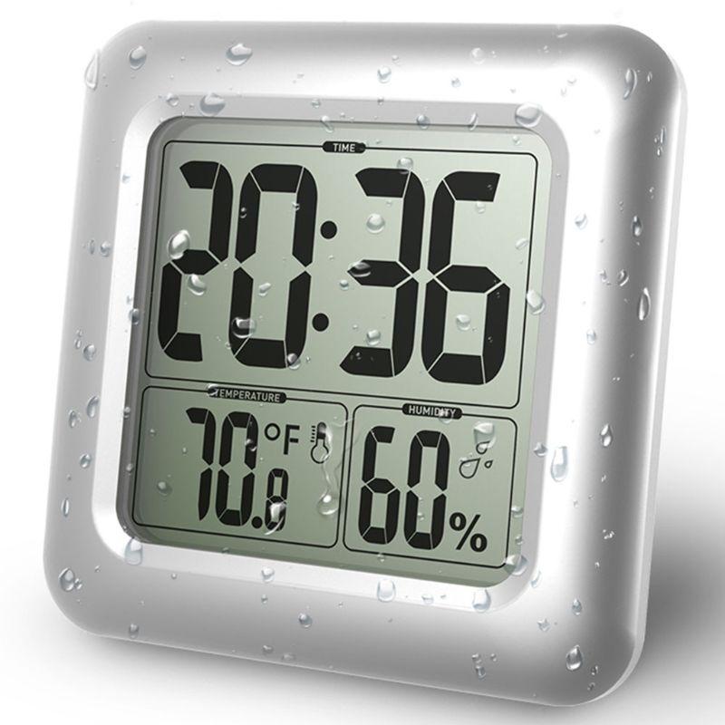Водонепроницаемый цифровой Ванная комната Душ настенные часы термометр Влажность Время Дисплей