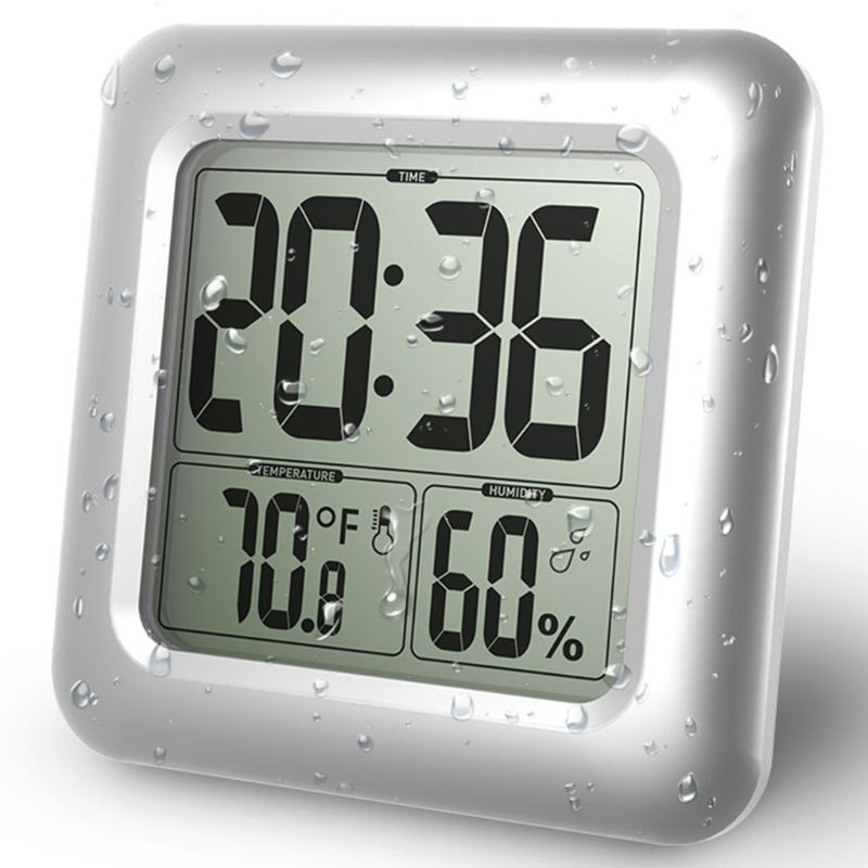Waterproof Digital Bathroom Shower Wall Clock Thermometer Humidity Time Display image