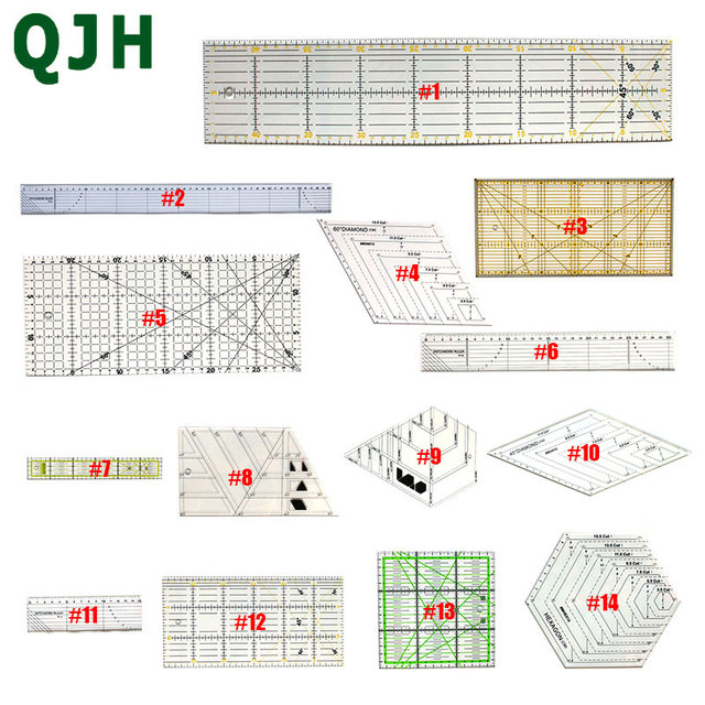 14 models Complete style Patchwork ruler DIY sewing tool Transparent Acrylic Material Quilting Ruler Tailor Office School Supply