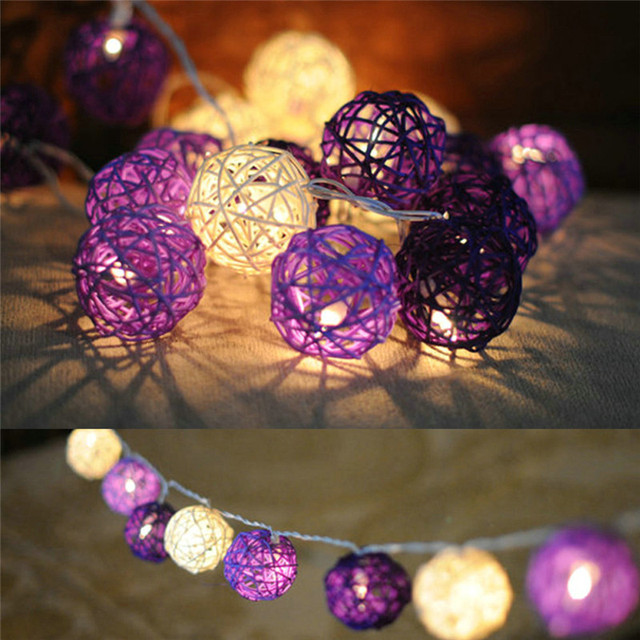2M 20 Leds Warm White Rattan Ball AC 110V/220V LED String Light DIY Garden Holiday Pendent Garland Fairy Light 5 Modes Wholesale