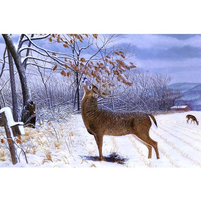 3D diy алмаз живопись алмаз вышивка Ручной Работы рукоделие горный хрусталь зима животных лось вышивки крестом украшение мозаичной ZY41