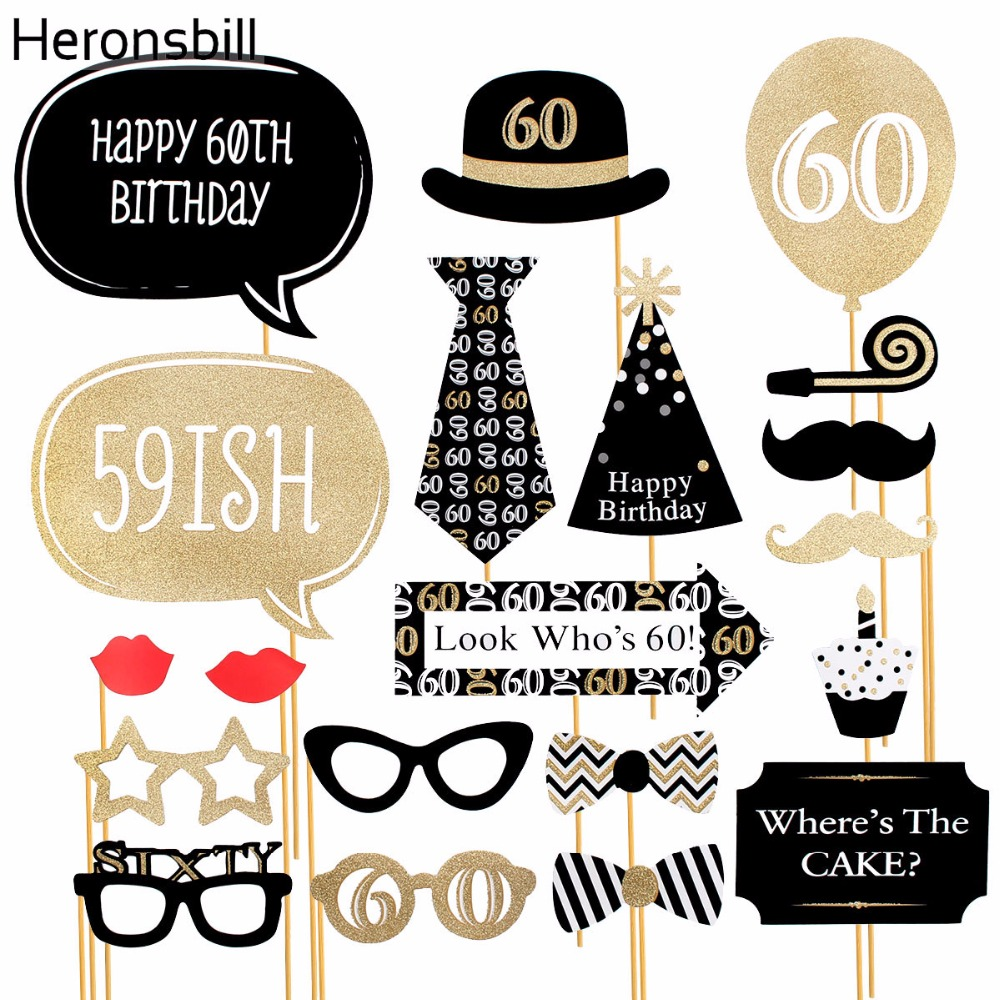 heronsbill 60th birthday photo booth props happy 60 years party
