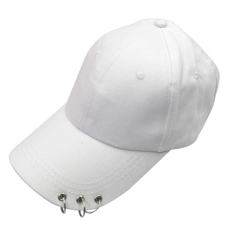 قبعة بيسبول مع خواتم Bboy قابل للتعديل عادية Snapback الرياضة الهيب هوب قبعة تحتوي على كرة من الفرو قبعة بيسبول s للجنسين القبعات أسود وردي أبيض