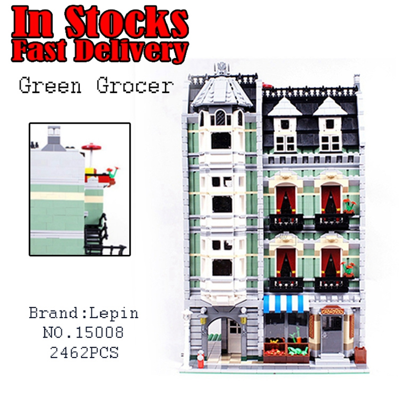 2462Pcs Lepin 15008 City Street Creator Green Grocer Model Kits anime toy figures Blocks Building Bricks toys for children 10185