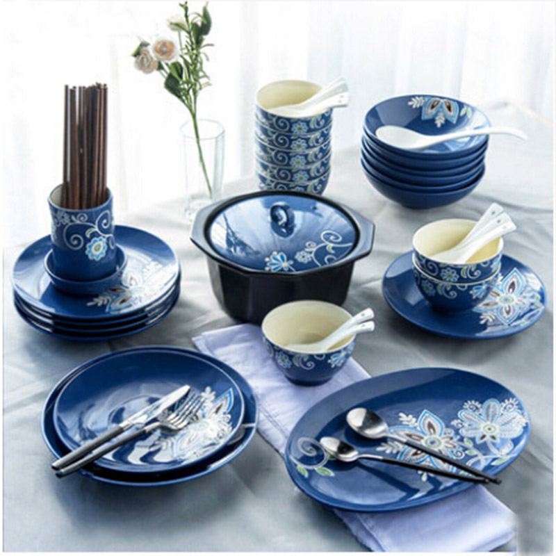 Blue hand made dishes platers dinnerware sets rice bowl soup pot food plates dinner tray