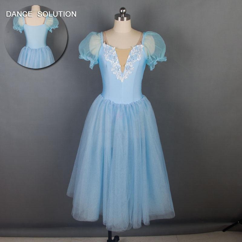 New Arrival of Sky Blue Long Romantic Ballet Dance Tutu Girls Stage Performance Dancing Dress 19024