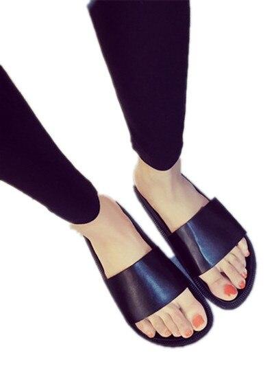 0edd7d2bf7d2a Black Slide Sandal Women Casual Summer Shoes Pu Leather Flat ...