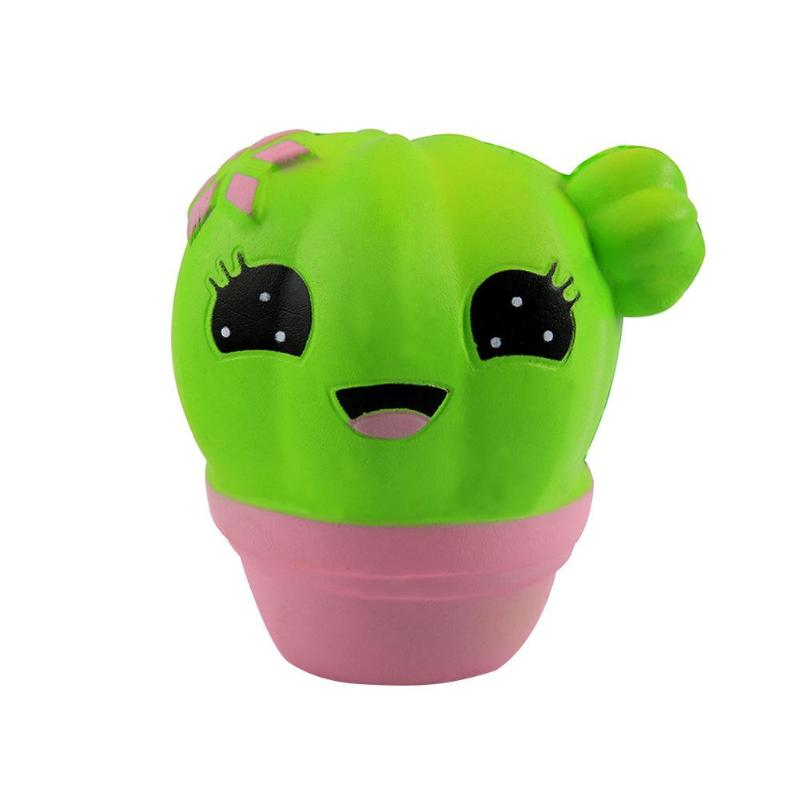 Popular Lovely Simulation Green Cactus Squeeze Stress Reliever PU Slow Rising Fun Toy Ideal Gift for Girls Boys Baby Adults