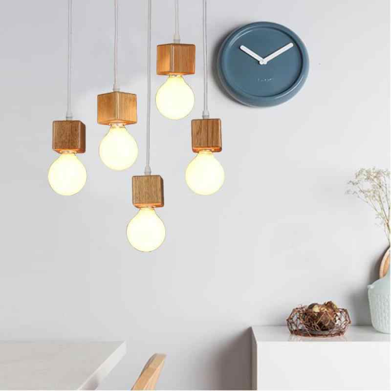Kayu Solid kayu bola kayu yang modern liontin cahaya ruang makan liontin lampu Pengkilap E Pendentes Loft Cahaya