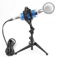 лучшая цена BM8000  Wired Recording Condenser Microphone with 3.5mm Plug Shock Mount For Computer +  Pop Filter +   desktop Stand