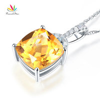 Peacock Star 14K White Gold 4 Ct Cushion Citrine Pendant Necklace 0.1 Ct Diamond