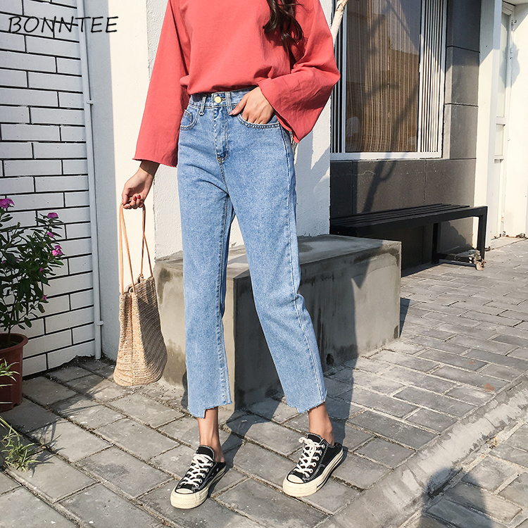 Jeans Women Vintage Solid Ankle-length Washed Denim Pocket Womens All-match Simple Leisure Trendy Chic Korean Style Student New