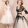 Black Champagne Elegant Evening Dresses Appliques Half Sleeve Ball Gowns Formal Prom Party Dresses