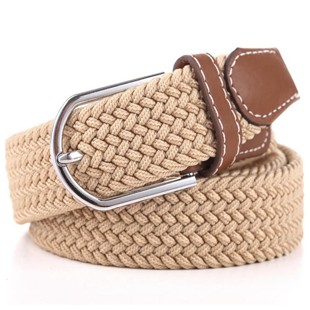 Unisex Men Women Canvas   Belts   Elastic Woven Leather 2018 Knitted Ladies Buckle Waist   Belts   Stretch Waist   Belt   Accessories