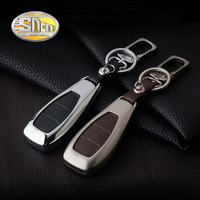 SNCN Car Accessories Zinc Alloy Key Chain Clip Ring With Genuine Leather Key Holder Cover Case