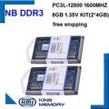 НОУТБУК PC3L Low power 1600Mzh 8 ГБ (комплект из 2 4 ГБ) DDR3 PC3L-12800S 1.35 В So-dimm 204 Булавки Модуль Памяти Ram Memoria для Ноутбуков