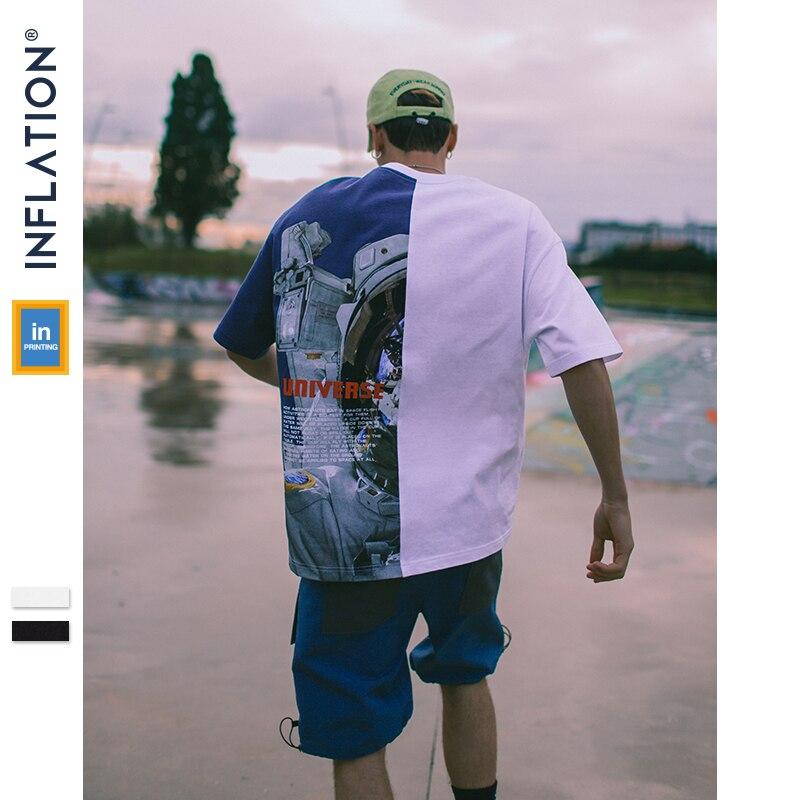 INFLATION Colour Block Astronaut Print Tee Short Sleeve T Shirts Mens 2019 Summer Fashion Streetwear Swag Couple Tee 91218S
