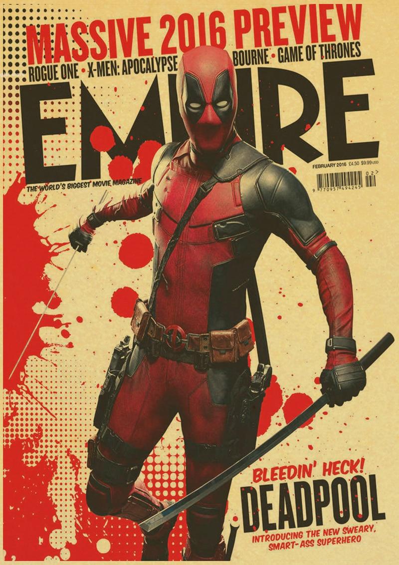 Vintage Marvel Superhero Deadpool HD Movie Poster Retro Kraft Paper ...