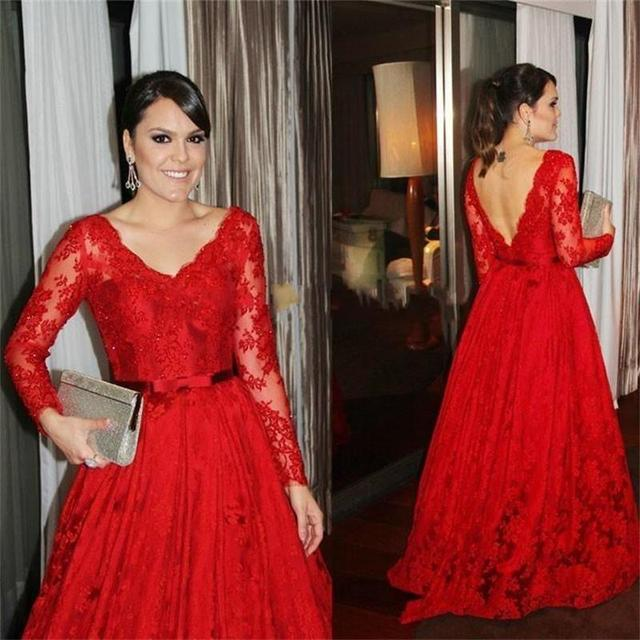dfd3cc077db Long Sleeve Red Lace Prom Dresses Sexy V Neck Open Back See Through Plus  Size Formal Evening Dress With Belt Sashes Empire Gown