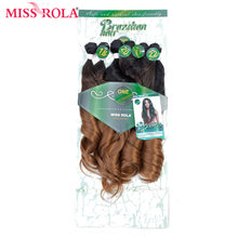 Miss Rola Ombre Wavy Hair Bundles Synthetic Hair Extensions Loose Wave Bundles T1B/30 18-22'' 6pcs/Pack Hair Weaves Free Closure(China)