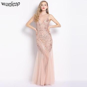 Sleeveless V Back Sheer Long Vestido Beaded Sequin Maxi Dress