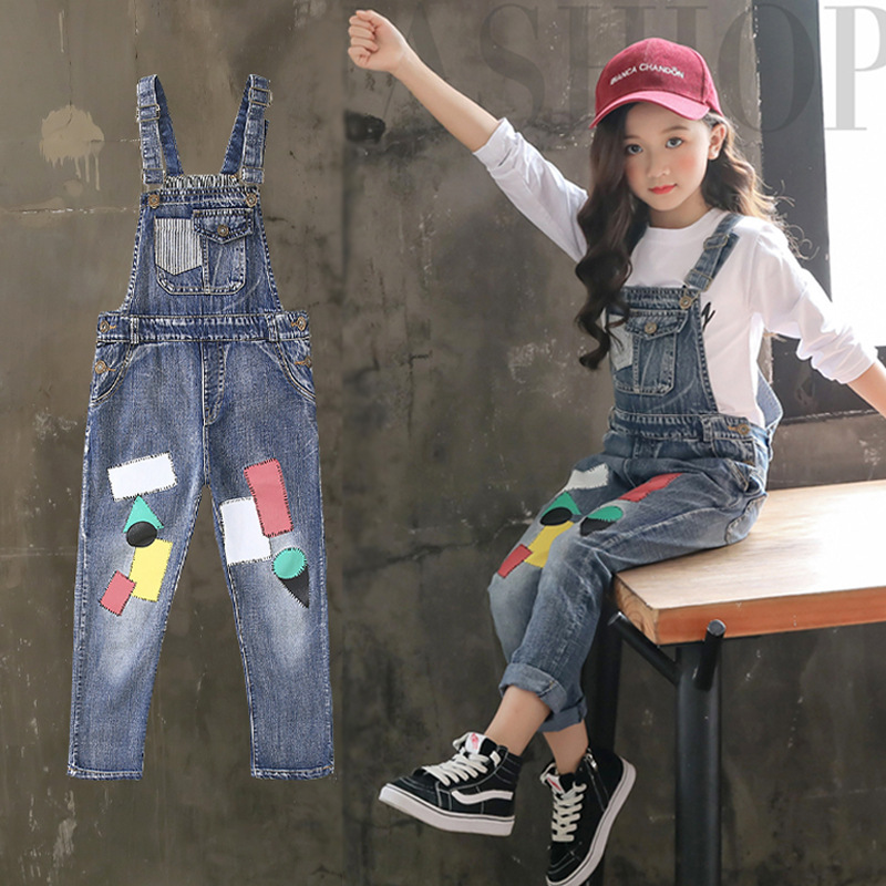 Print Overalls Jeans For Girls 3 4 5 6 7 8 9 10 11 Years 2018 New Fashion Baby Girl Fall Clothes Print Jumpsuit Long Denim Pant