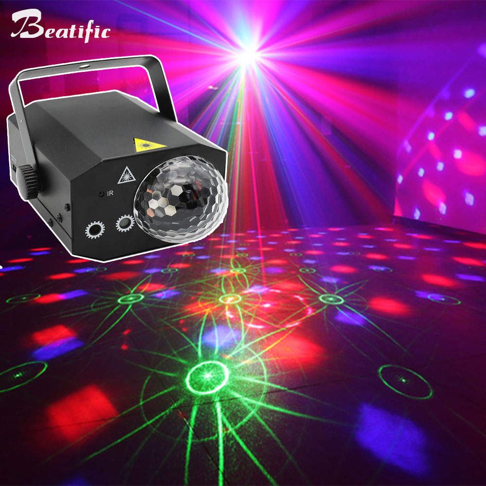 RGB Sound Party Disco Lights Magic Ball for Home Karaoke Club Bar Stage Equipment soundlights 16 Patterns Laser Show Projector
